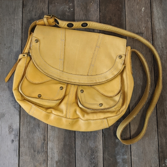 Distressed Lucky Brand Yellow leather Cross Body